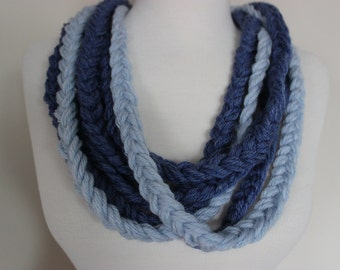 Crochet Chain Scarf Necklace, Blue Necklace Scarf, Blue chain crochet scarf, Necklace, Crochet Braid Scarf, Rope Scarf, Braided Chain Scarf