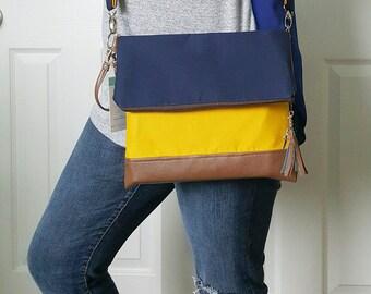 Blue Crossbody Bag, Crossbody Purse, Yellow Crossbody, Crossbody Strap, Brown Faux Leather, Clutch Bag, Crossbody Handbag, Mothers day gift