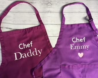 Mum or Dad and child matching apron set
