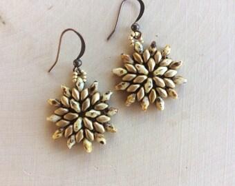 Earth Tone Flower Earrings