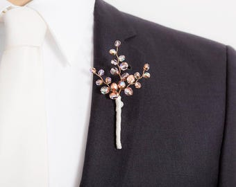 Limited Edition Copper / Purple/ Iridescent Boutonniere - Copper Boutonniere - Mens Boutonniere