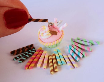 20 Candy sticks/Colorful straws combination Faux Candy Cupcake Topping Miniature Sweets Deco Deco-den