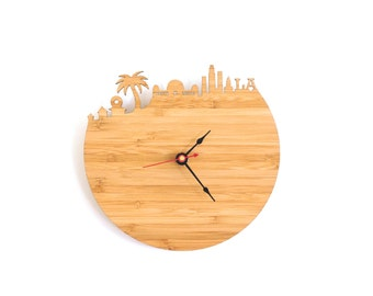 Los Angeles Modern Wall Clock - Large Wall Clock - Modern Wall Clock - Walnut Clock - Cherry Clock