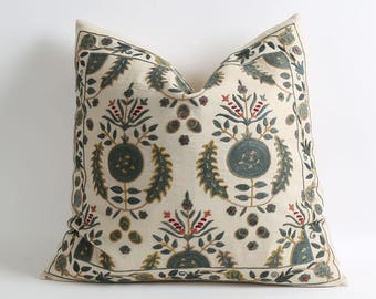 Green floral suzani pillow cover