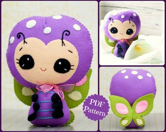 PDF. Smiling butterfly. Plush Doll Pattern.  Softie Pattern, Soft felt Toy Pattern.