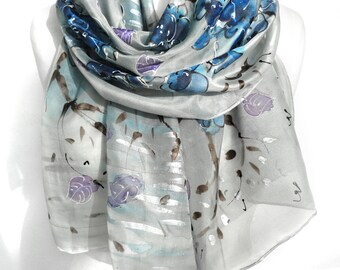 Silk Hand Painted Scarf. Silver Scarf. Anniversary Birthday Gift for Her. Blue Silver Shawl. Genuine Silk Art. 18x71in MADE to ORDER