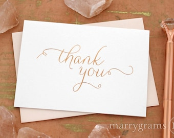 ROSE GOLD FOIL Wedding Thank You Note Card Set - Wedding, Baby Shower, Bridal Shower, Bar Mitzvah, Bat Mitzvah All Occasion Party Cards CS01
