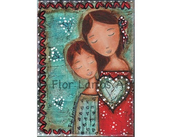 Un Solo Corazón - Mother and Son Love -  Print from  Painting by FLOR LARIOS (5 x 7 INCHES)