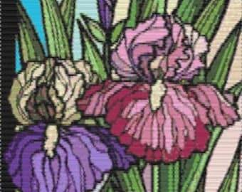 Digital PDF File Bead Stitch Patterns in Brick Peyote and Loom - RB Flowers 120 - Iris