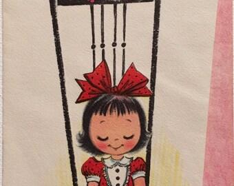 Vintage Birthday Card Stork NOS Unused Mid Century Vintage Girl