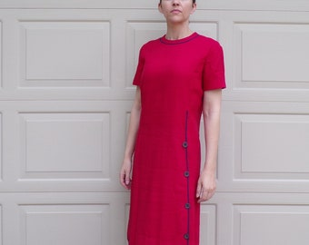 red 1960s LINEN LIKE WEAVE dress mad men S 60s (B4)