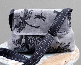 Grey Messenger Bag - Dragonflies - Adjustable Strap - Hand Printed