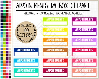SALE 100 APPOINTMENTS Quarter Box planner stickers printable planner sticker Erin Condren Mambi Happy Planner Commercial use planner clipart