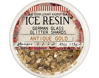 Ice Resin, ANTIQUE GOLD German Glitter Glass,  Susan Lenart Kazmer Casting Inclusions .45oz German Glass Glitter Shards For Using With Resin