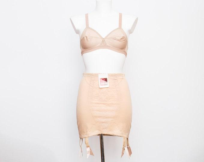 garter girdle skirt nude bombshell dead stock Vintage