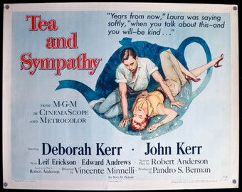 """Tea and Sympathy ~ U.S. Half Sheet 1956 Style 'A' ~ ROLLED 22""""x28"""" in Very Good Condition ~ Great Art of Deborah Kerr! Fabulous Tag Line!"""
