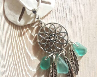 Dream Catcher Sea Glass Necklace Dream Catcher Necklace Boho Sea Glass Jewelry Seaglass Jewelry Seaglass Necklace