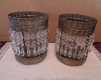 Set of Two Decorative Glass/ Metal Candle Holders, (# 103/7)