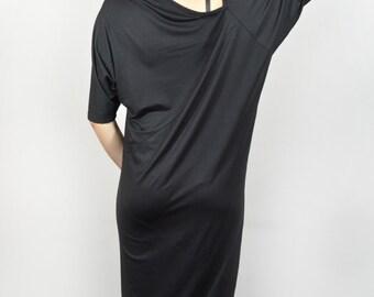 Loose caftan/ elegant black off shoulder dress/ Black loose caftan/ big size dress.