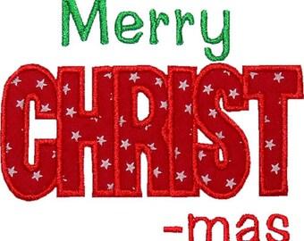 Merry CHRIST-mas Design Appliqued on Chlidren's Shirt