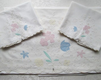 Vintage Madeira Sheet Pillowcase Set Bed Linens Portugal Hand Embroidered Pastel Unused Tags MWT Gremio Seal Vintage Linens