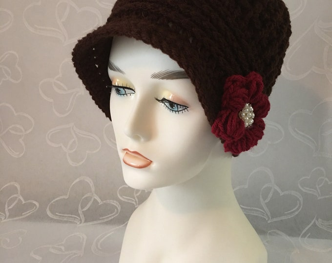 Cloche Crocheted Women's Hat-Newsboy Cap-Cloche Flapper Hat-Vintage 1920's Style Hat-Womens accessories -Vintage Hats-Fashion Accessories