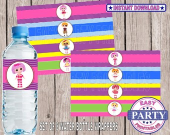 SALE Lalaloopsy Instant Download water bottle wrappers easily print from home, party printables, colorful, girls birthday, fun