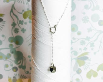 Sterling Silver - Pyrite Lariat Necklace / silver Y necklace / pyrite necklace / silver layering necklace / modern minimalist necklace