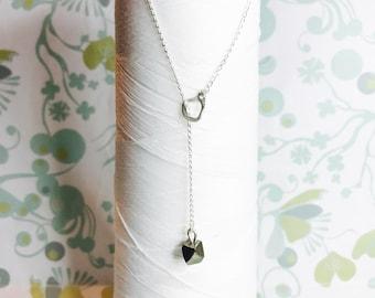 Sterling Silber - Pyrit Lariathalskette / Y Halskette Silber / pyrithalskette / Silber Schichtung Kette / moderne minimalistische Halskette