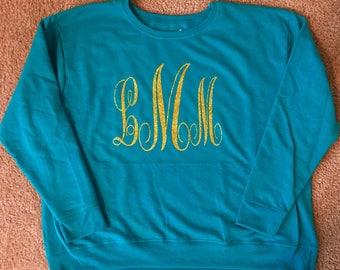 Glitter monogrammed sweatshirt!