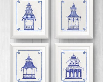 Chinoiserie Art - Pagoda - Blue and White - Chinoiserie - Chinoiserie Print - Blue and White Art - Set of 4 Prints