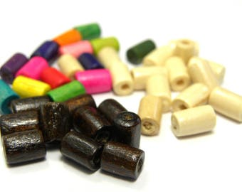 100 pc. Wooden Cylinder Beads 8 mm - Mixed Colours - Brown - Natural