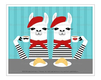 74J - Food Wall Decor - Two Llamas Eating Croissant and Drinking Coffee Wall Art - Bakery Art - Llama Art Prints - French Decor - Funny Art