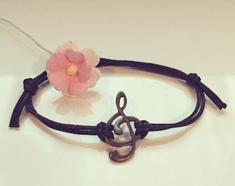 Clef - bracelet in black, clef, music, clef