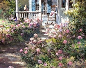 A Cat in a Garden  House - Garden, Cat, Watercolor Print