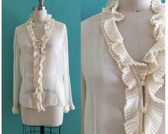 vintage 90's silk sheer cream ruffle blouse