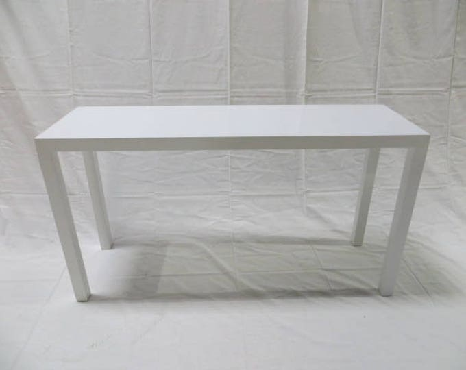 Ca. 1950s Lane Sofa Console Table with Parsons style Legs in Solid Birch Lacquered White