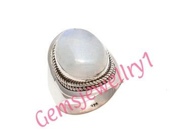 Moonstone Ring, Rainbow Moonstone ring, silver ring,  silver MoonStone ring, stone ring,92.5 sterling silver, US size 5 6 7 8 9 10 11 12   8