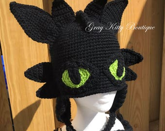 Crochet Black Dragon Hat, Crochet Toothless Hat, Toothless the Dragon Hat -  Halloween Costume - All Sizes
