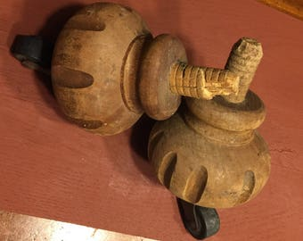 Set of Two Salvaged Furniture Feet with Casters