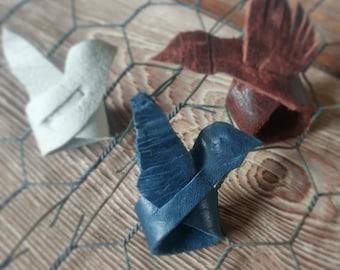 Leather ring blue bird barn swallow
