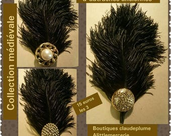 Cabochons and black ostrich feathers 3 pegs