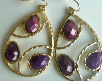 Eggplant Purple Plum Grape Faceted Jewel Geometric Golden Teardrop Dangle Earrings.  Jewelry Gifts for Her