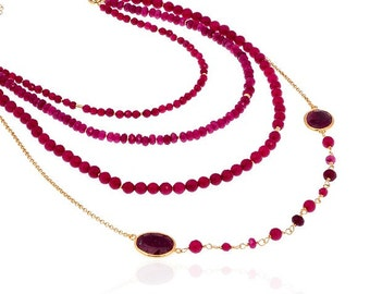 Multi Layer Ruby Necklace