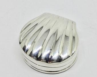Shell box, small sterling silver trinket box.