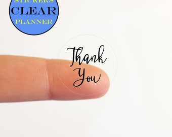 15 CLEAR Thank You Stickers Labels Round Circle Stickers Transparent Thank You Labels Packaging Stickers Packaging Labels Favor Labels (ic3A