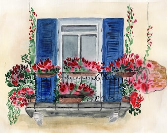 Watercolor painting, Window, Balcony, Watercolor poster, JPEG