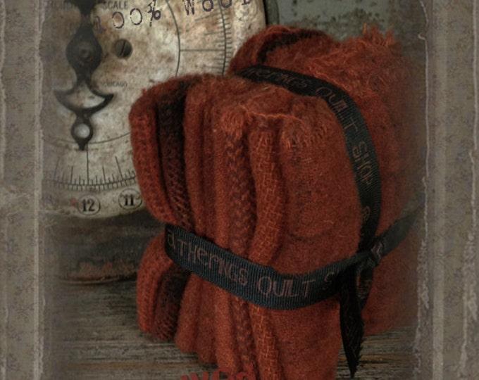 Hand Dyed 100 percent Wool Bundle Color: Rust - Primitive Gatherings