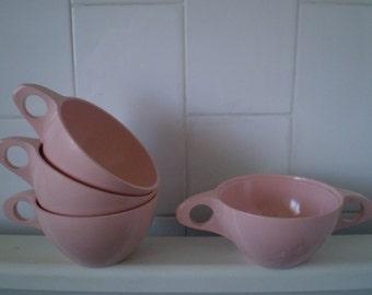 Vintage Melmac Melamine PINK  Cups Set of 4