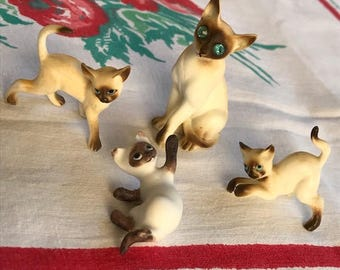 Vintage Bone China Siamese Cat Figurines Set of Four